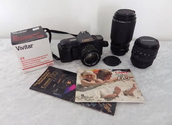 Photo Canon T70 35mm film camera 3 lenses 75-200mm 35-80mm 50mm (College)