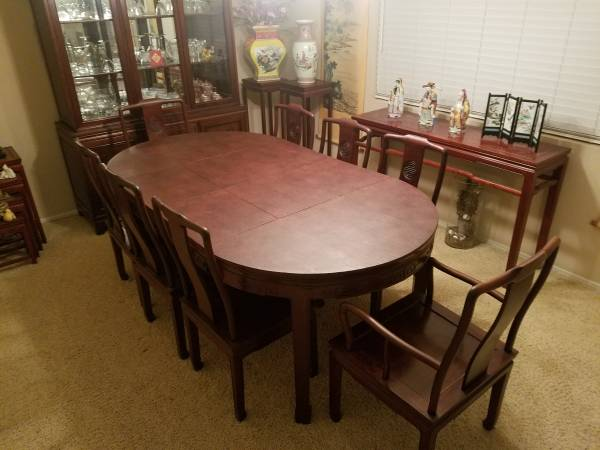 Photo Chinese Asian Kitchen or Dining Room Table Set with chairs - $1,600 (Rancho San Diego)