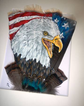 Photo Eagle and flag painted on feathers - $95 (Lakeside)