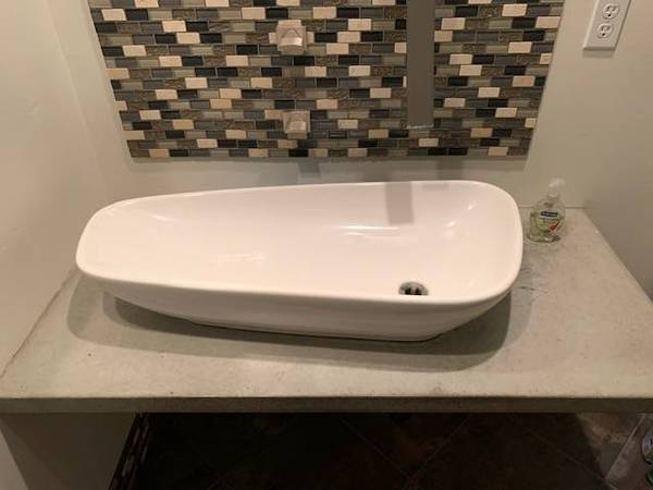 Photo Floating Concrete Vanity Top353939 Wide Laufen Fireclay Vessel Sink - $285 (sdbay-ho)