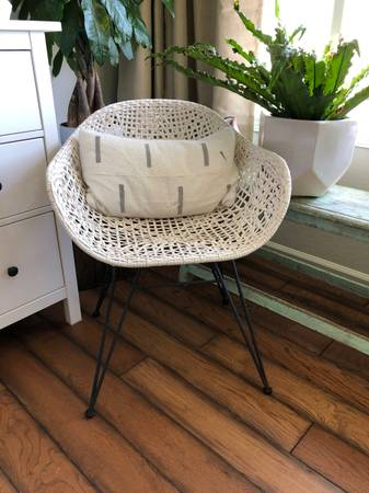 Photo Genuine leather wide seated bandelier rope eames occasional desk chair - $175 (Carlsbad)