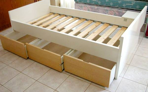 Photo IKEA Type Twin Bed Frame With Storage Drawers. Mattress Included. Poss - $119 (San Diego)