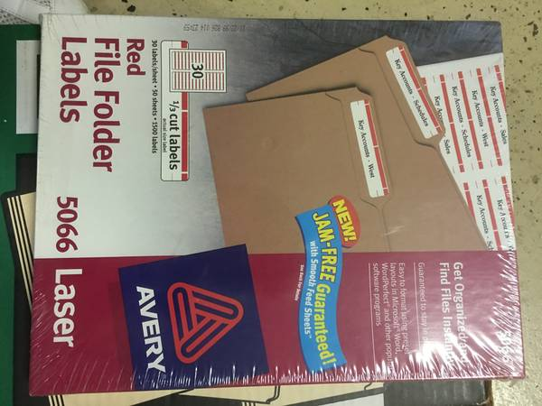 Photo Office supplies - labels, folders, heavy duty hole punch - $1 (Carlsbad)