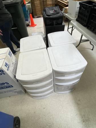 Photo Plastic Storage Drawer  Cabinets (4) - $15 (eacash). San Marcos, Pioneer Industrial Park)