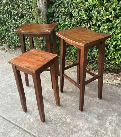 Photo Set of 3 Pier One Imports Wood Stool and Table - $60 (North Park)