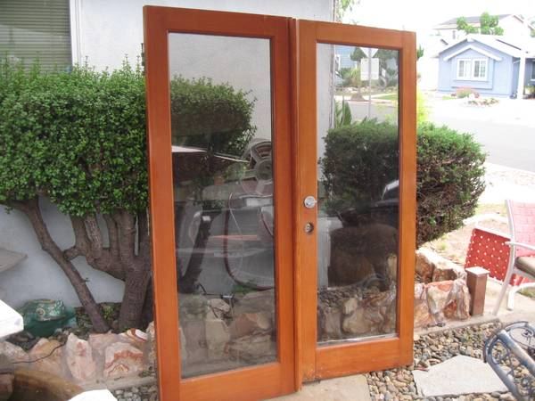 Photo Solid Douglas Fir Double French Doors-(dual pane glass)-wFrame - $675 (sdbay-ho)