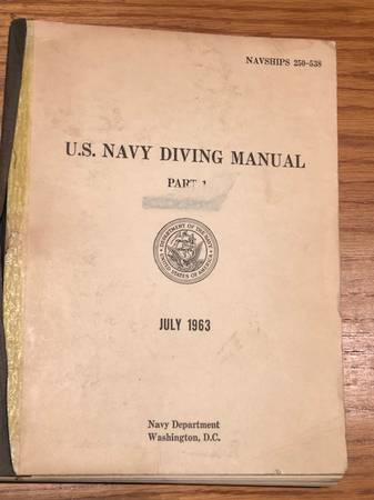 Photo US Navy Diving Manual from 1963 by - $25 (Fallbrook)