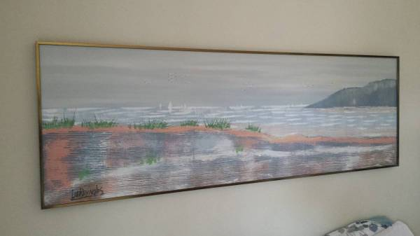Photo Vintage Lee Reynolds Large OceanSail Boat Textured Painting - $750 (sdbay-ho)