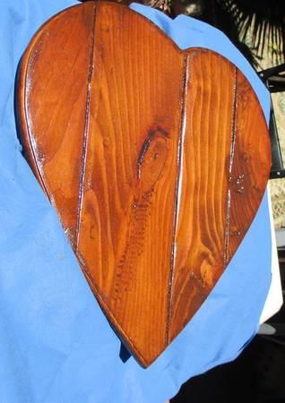 Photo Wall hanging hard wood art heart wood) - $60 (Santee ca)