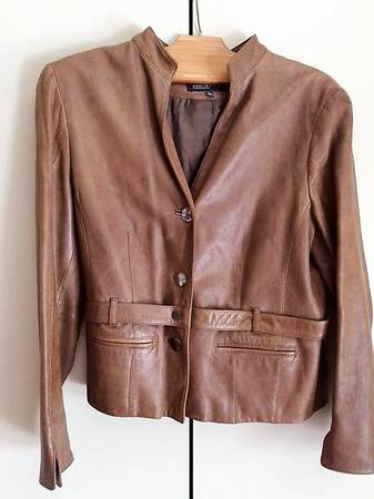 Photo Women39s Brown Leather Jones New York Collection Jacket - $88 (Hillcrest area)
