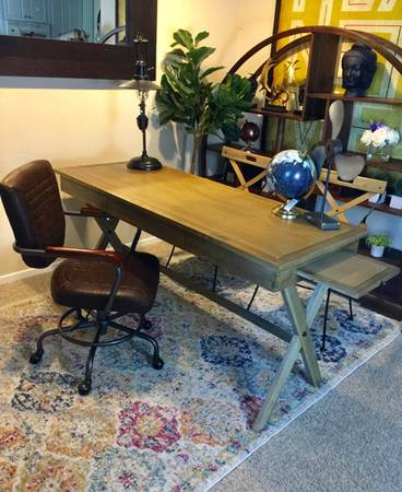 Photo World market Caign Acacia Desk with drawer And Swivel office chair - $375 (4s ranch)