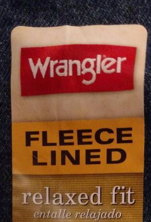 Photo New w Tags Men39s Fleece Lined Wrangler Jeans 34 x 34 Warm Comfortable - $20 (Lakeside Marblehead)