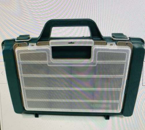 Photo Vintage large Woodstream Fishing Tackle Locker Box satchel w tray  - $59