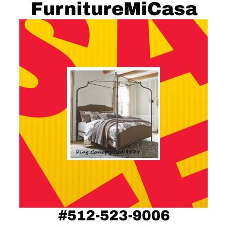 Photo King Size Canopy Bed By Ashley-No Credit Check Financing - $599 (San Marcos Kyle Buda)