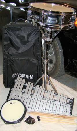 Photo Yamaha snare drum, bells, stand, mallets, case - $250 (San Marcos)