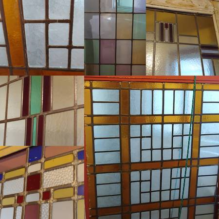 Photo 8 Antique lead stained glass doors art deco vintage heavy wooden - $500 (Santa Barbara)