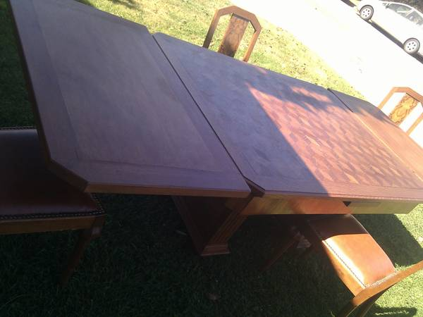 Photo Beautiful Solid Teak Art Deco Dinning Table  Chairs from Belgium - $850 (Lompoc)