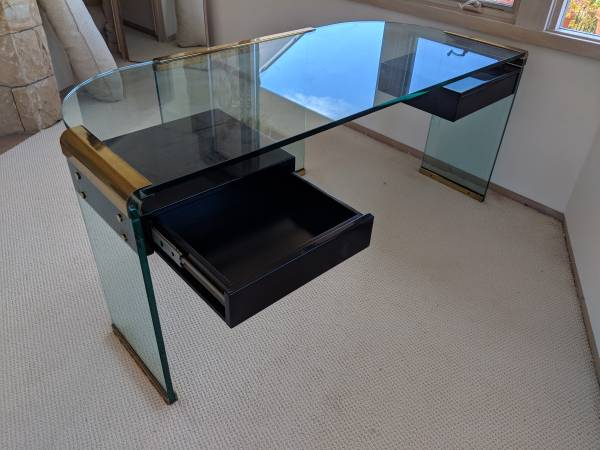Photo Glass desk with floating drawers - $250 (Santa Barbara)