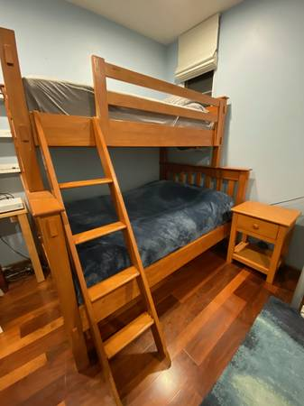 Photo Pottery Barn Bunk Bed - Twin-Over-Full, side table, book shelf - $800 (Santa Barbara)