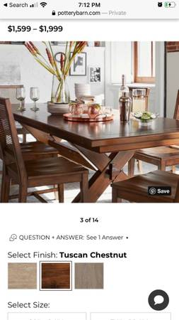 Photo Pottery barn Dining Table-includes 4 chairs, 2 benches  2 leaf table extensions - $1500 (Santa Barbara)