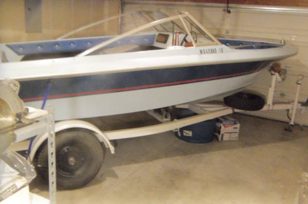 Photo 1985 EBCO 16 ft boat Bow rider trailer and motor for sale - $2,650 (rio rancho)