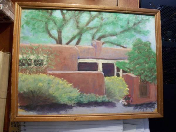 Photo Framed original pastel painting of adobe house in Sante Fe,N.M - $50 (Phenix City,Alabama)
