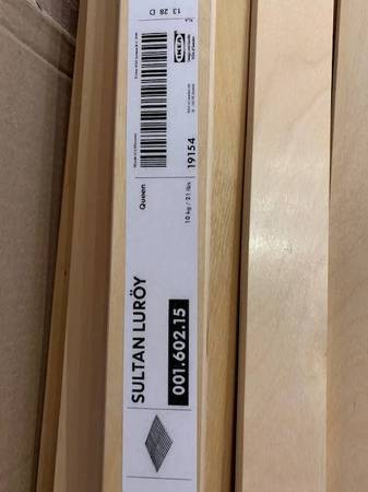 Photo Ikea LURY Sultan Bed Slats Queen and SKORVA Center support beam - $40 (Santa Fe NM)