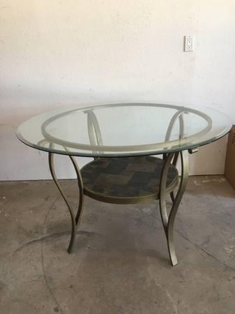 Photo Round Beveled Glass Table - $225 (Santa Fe)