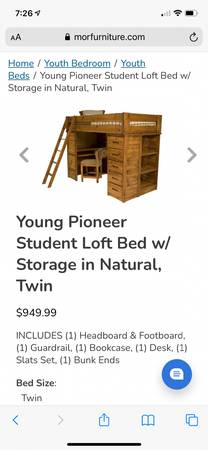 Photo Student loft bed with storage  additional twin bed - $450 (Santa Fe)
