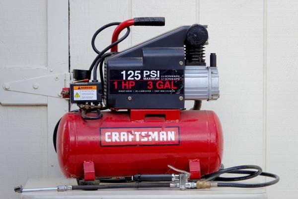 Photo 125 PSI Craftsman Air Compressor w Hose  Inflator Gauge, 3 Gal, 1 HP - $125 (Nipomo)