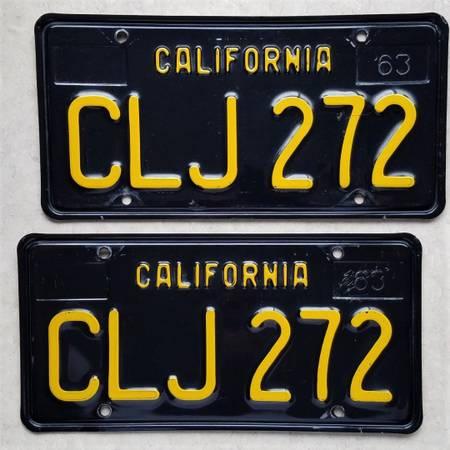Photo 1963 California Black License Plates 1964 impala 1965 nova 1966 GTO vw - $325 (CA)