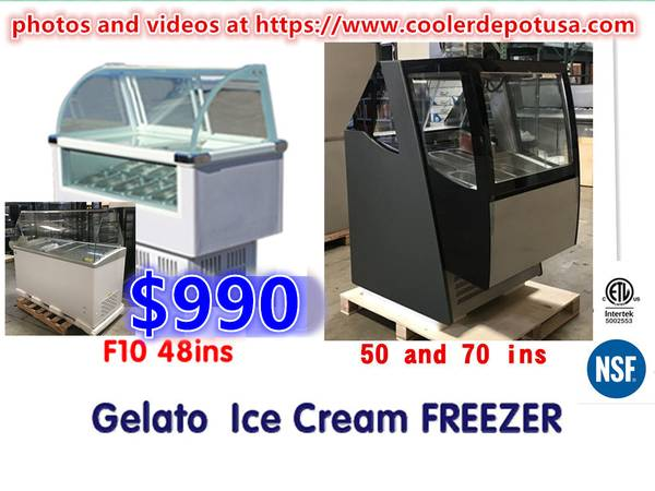 Photo Commercial Glass GelatoPopsicle Freezer Display Case 100 NEW EQ lth - $990 (100 new)