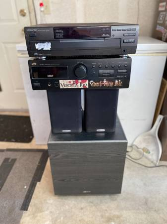 Photo JVC Receiver, Kenwood CD changer, BIC subwoofer, Polk speakers (ORCUTT)