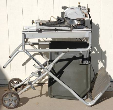 Photo Ridgid Wet Tile Saw w Rolling Stand -Needs 2 wheels for sliding table - $200 (Nipomo)