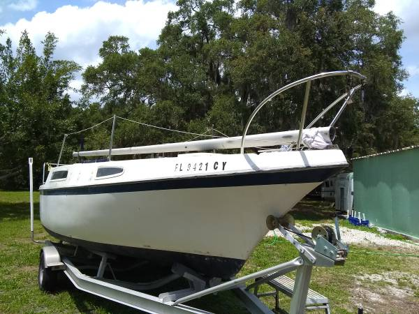Photo 2639 Clipper Marine sailboat, trailer, motor package - $4,900 (Venice)