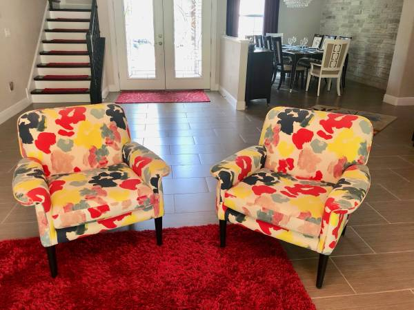 Photo 2 West Elm Anders Accent Chairs Kate Spade Colorful Red Yellow Blues - $400 (Sarasota)