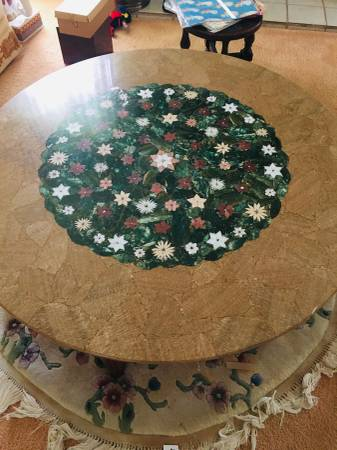 Photo Amazing Marble Mosaic Table Top  Coffee Table 43 Floral - $175 (Sarasota)