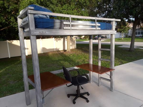 Photo Brand New High Quality - Weathered Twin XL Loft Bed with workstations - $350 (Palmetto)