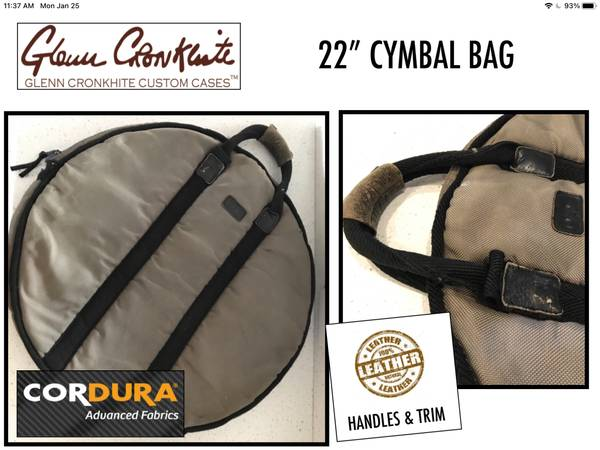 Photo CYMBAL BAG - TRANSPORT POUCH CASE Custom Made up to 22 MAKE OFFER (Bradenton)