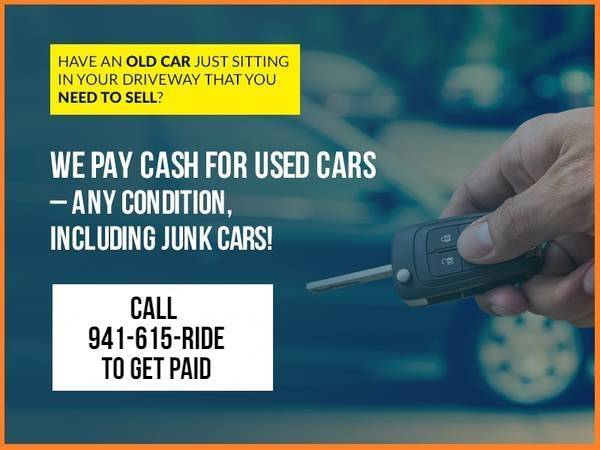 Photo DO NOT TRADE YOUR CAR WE BUY UNWANTED JUNK SCRAP CARS 941-615-7433 (Southwest Florida)