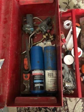 Photo Husky Metal Tool Box with Plumbing Torches - $40 (Sarasota)