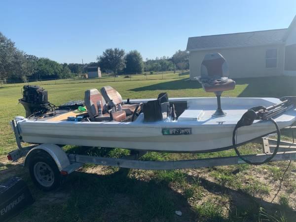 Photo jon boat john boat, 15 fiberglass with 70HP - $1,500 (Bradenton)