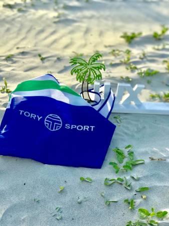Photo TORY BURCH Tory Burch Sport Multi Cobalt Blue Monogram Nylon Tote - $50 (SAVANNAH)