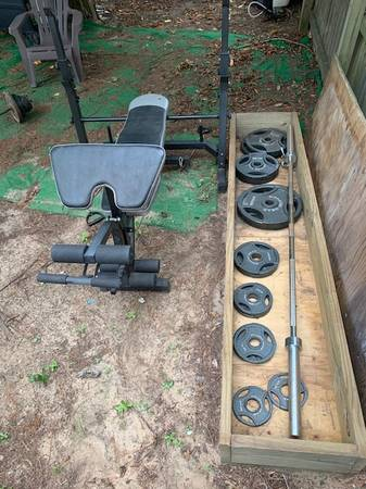 Photo weight bench and 300 lb Olympic wts - $175 (Hinesville)