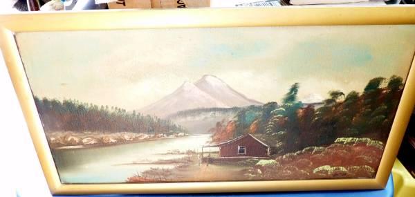 Photo Vintage Sutton Mountain Cabin on River-Oil on Board Framed - $125 (Elizabeth)