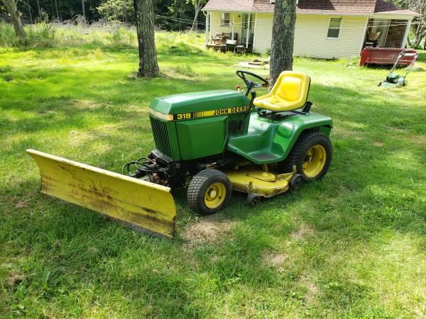 Photo John Deere 318 garden tractor with plow - $2,200 (shickshinny)