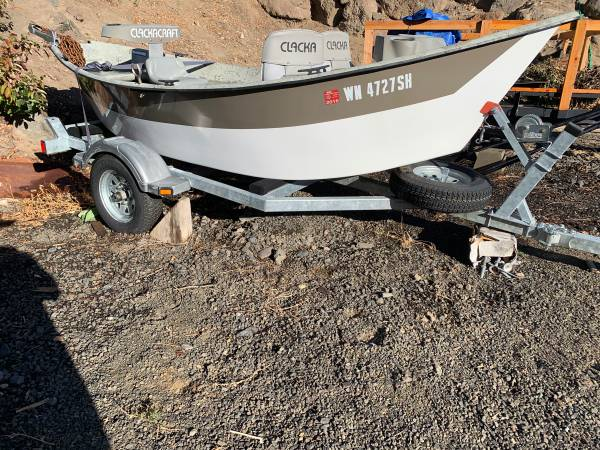 Photo 2011 14 Clackacraft Big Sky drift boat for sale. Comes with trailer - $4,900 (Yakima)