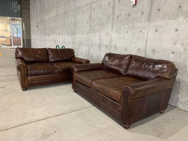 Photo 2 Restoration Hardware 6 Lancaster Leather Sofa Loveseats 45 Deep - $4400 (Issaquah)