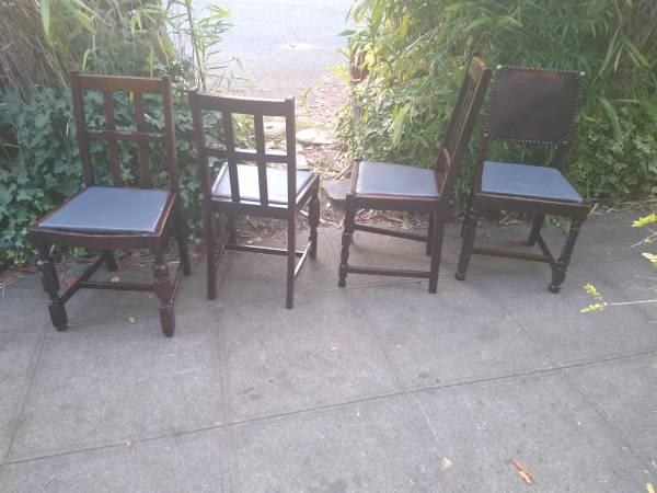 Photo 4 dark oak antique dining chairs - $120 (Seattle)