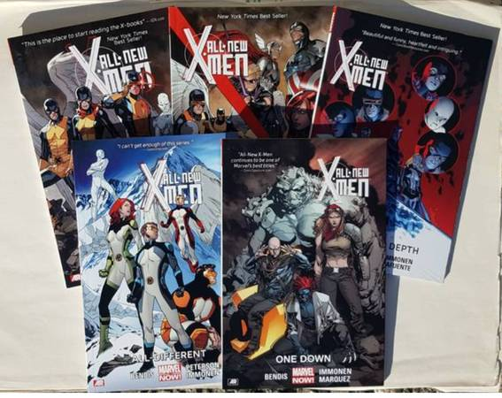 Photo ALL NEW X-MEN Trade Paperback Graphic Novel Lot Vol 1 - 5 Marvel Comic - $40 (Ballard)